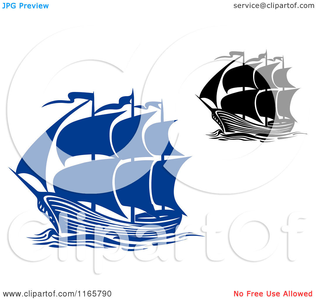 Clipart of Blue and Black and White Brigantine Ships.