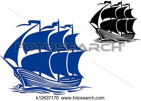 Clipart of Brigantine sail ship k12637170.