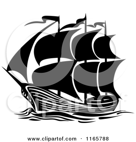 Clipart of a Black and White Brigantine Ship.
