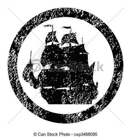 Stock Illustrations of Rubber stamp with brigantine silhouette.