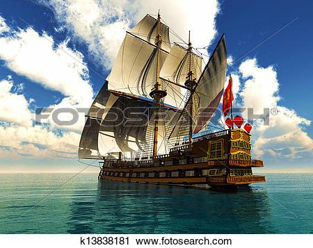 Clipart of Pirate brigantine k13838181.