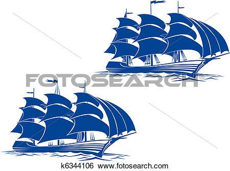 Clip Art of Brigantine ship k6344106.