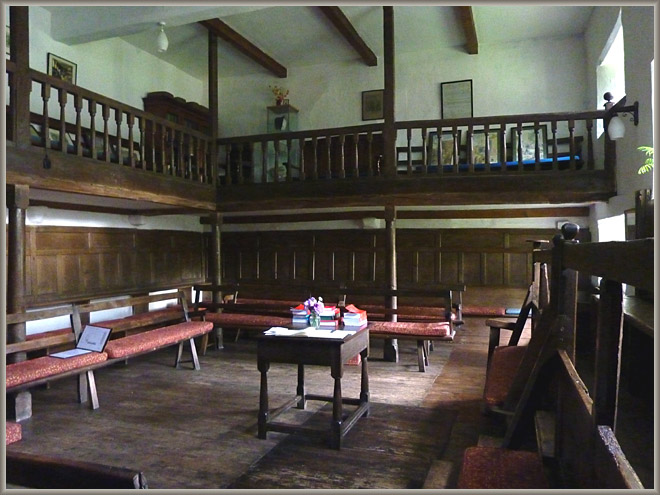 Brigflatts: Friends' Meeting House Interior.