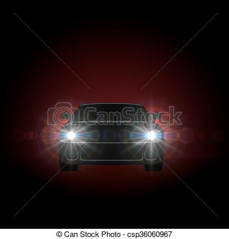 Clip Art Vector of Bright car headlights shining from dark.