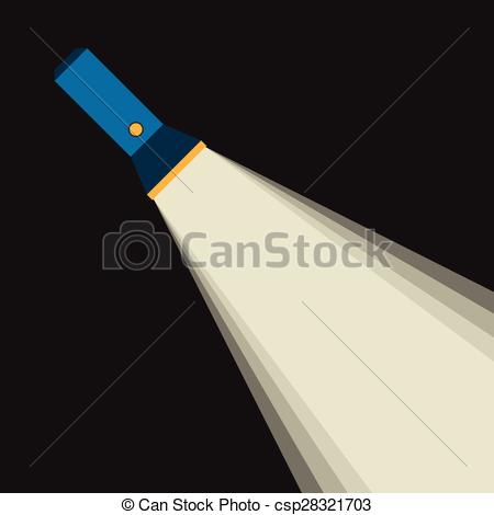 Vector Clipart of Bright beam of flashlight or pocket torch in.