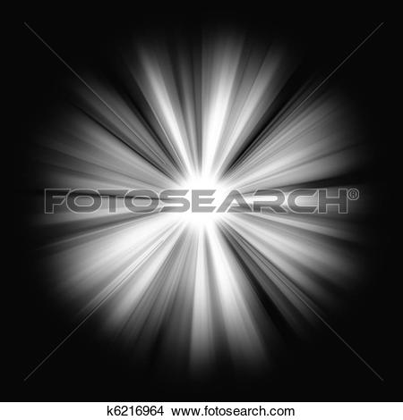 Stock Illustration of Beams of bright Light on black: shining star.