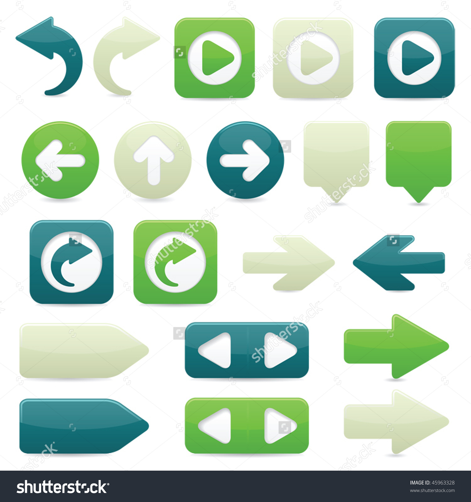 Glossy Directional Arrow Buttons In Bright Green, Dark Blue And.