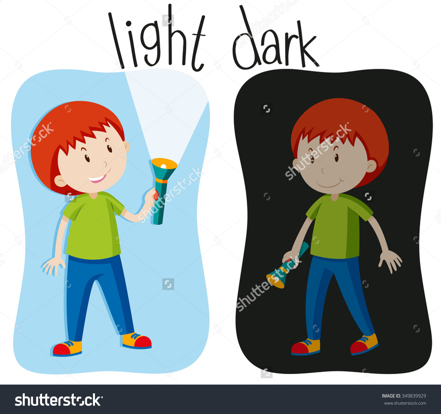 Opposite Adjectives Light Dark Illustration Stock Vector 349839929.