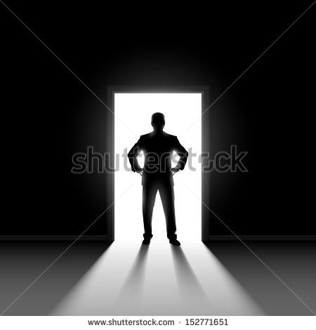 Silhouette Man Entering Dark Room Bright Stock Vector 152771651.