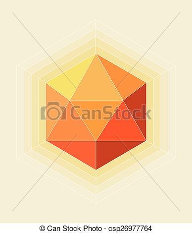 Clip Art Vector of Hexagon Orange Symbol on Soft Bright Colors.