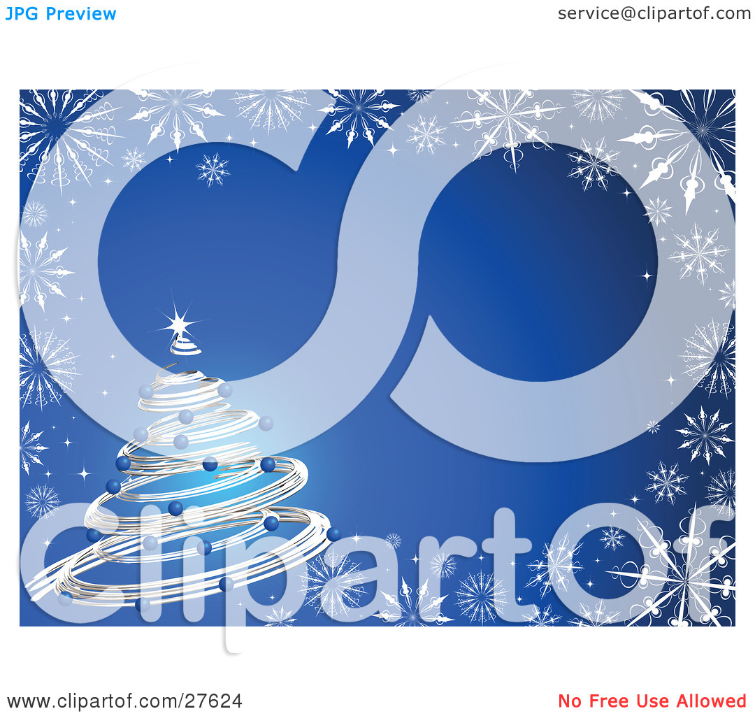 Clipart Illustration of a Silver Spiral Christmas Tree Decked Out.