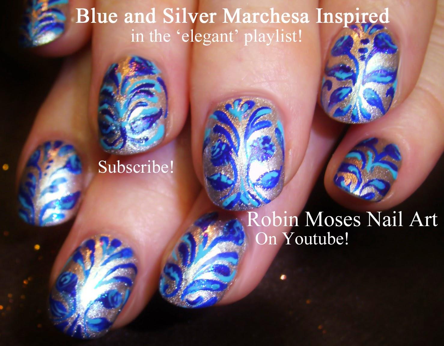 """Robin Moses Nail Art: """"damask nails"""" """"damask nail art"""" """"royal blue."""