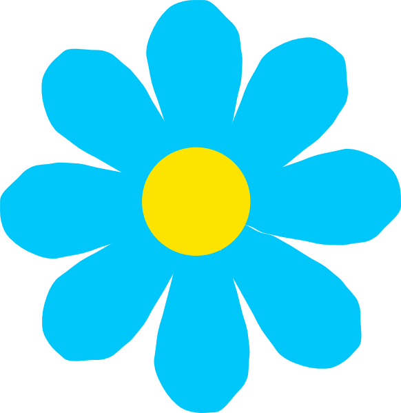 Bright Blue Flower Clipart.