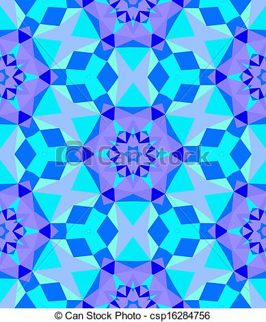 Clipart Vector of Multicolor geometric pattern in bright blue.