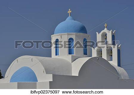 """Picture of """"Bright blue dome of a church, near Akrotiri, Santorini."""