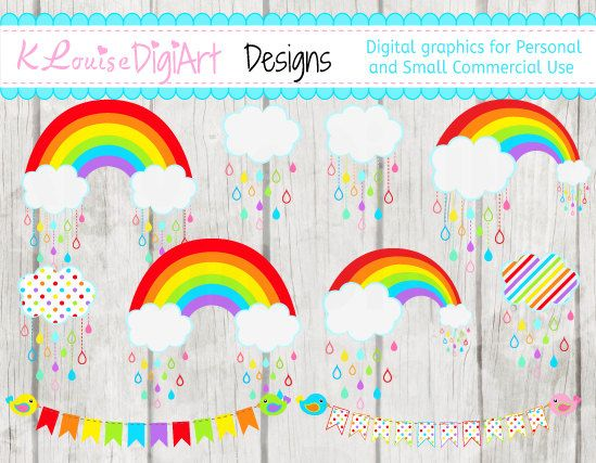 Bright Rainbow and Clouds Clipart PNG for Personal and Small.