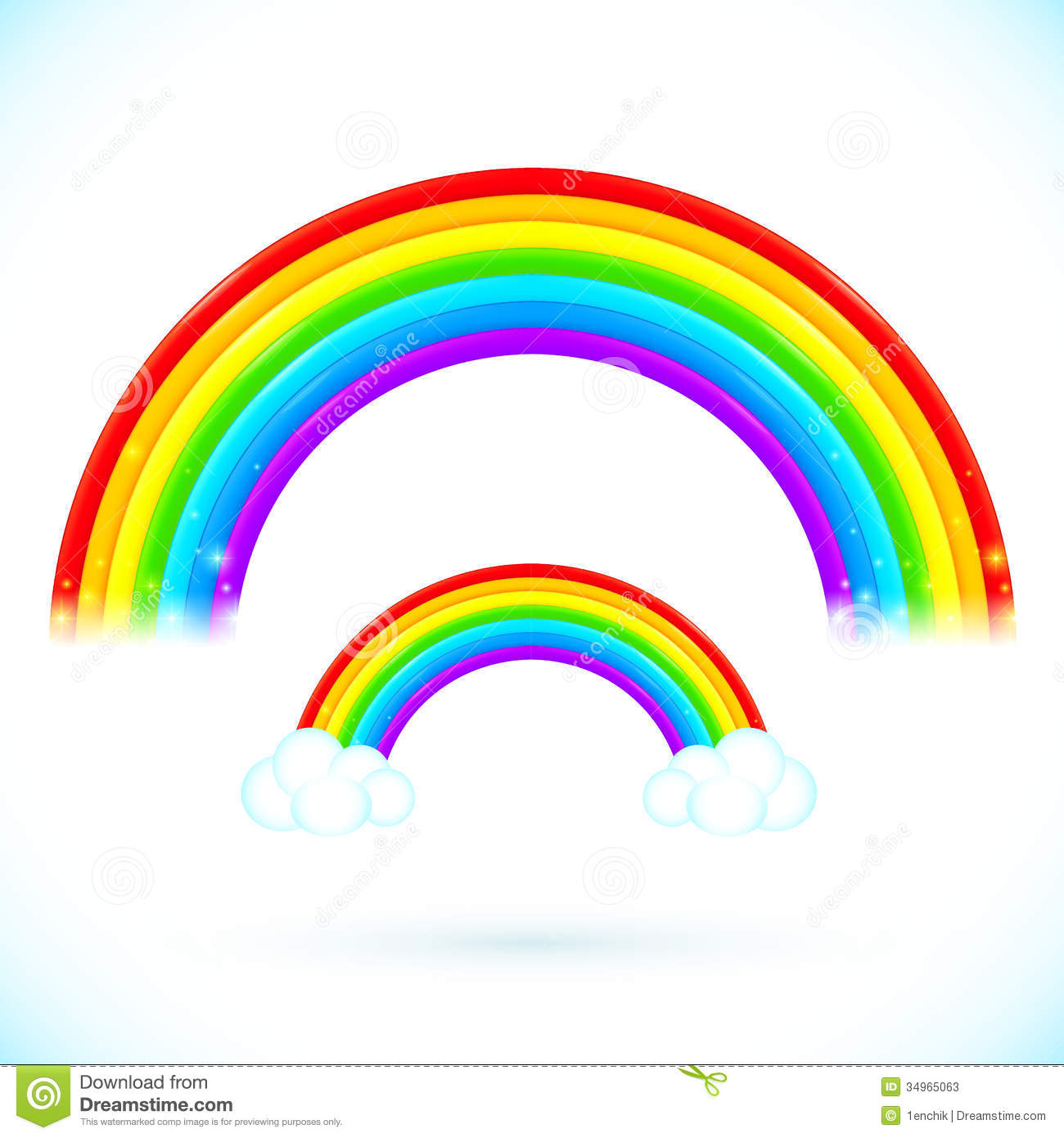 Rainbow With Clouds Black And White Clipart.
