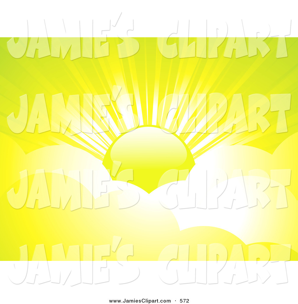 Clip Art of a Warm, Bright Yellow Sun with Beams of Sunlight.