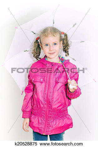 Stock Image of Little girl in bright coat holding umbrella.