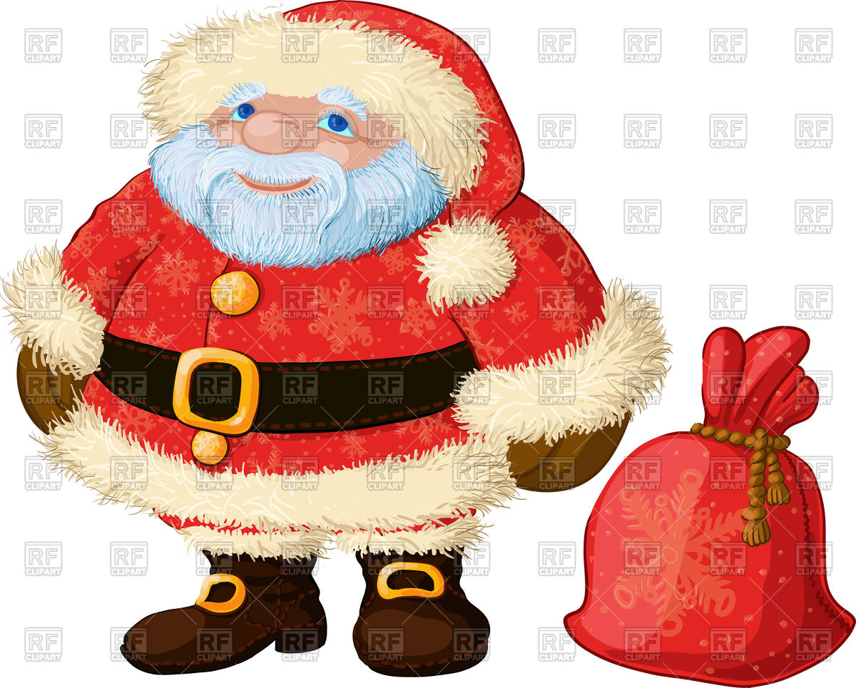 Good chubby Santa with bag of gifts and bright coat Vector Image.