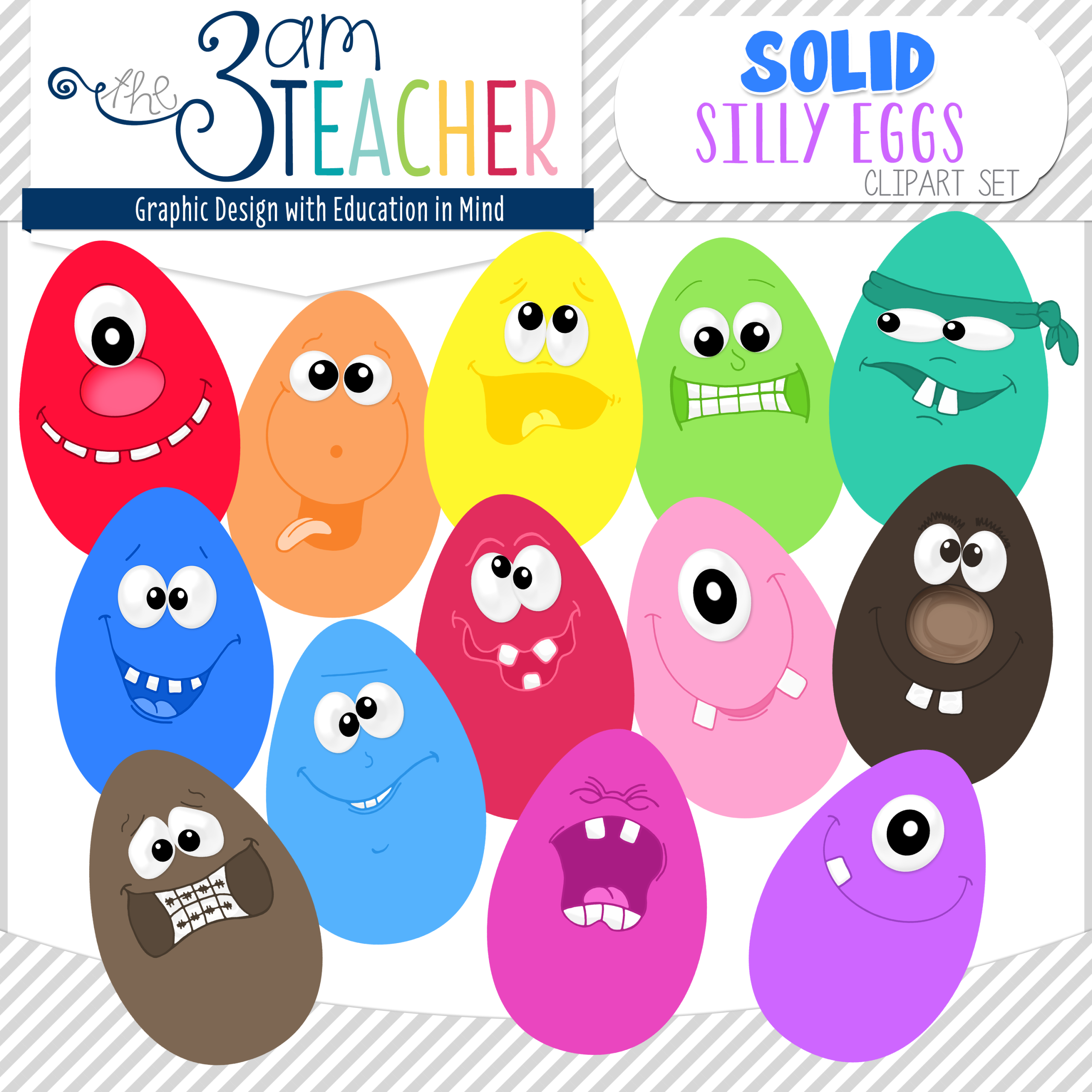 Fun Silly Eggs in Bright Solid Colors Clip Art Set.
