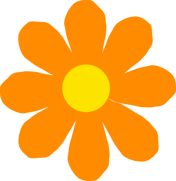 Bright Color Spring Flower Clipart.