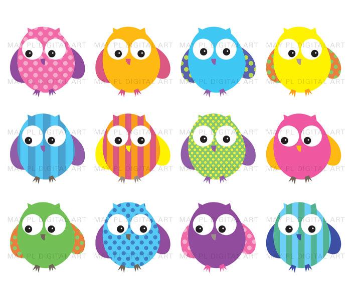 Bright Colored Owl Clip Art.