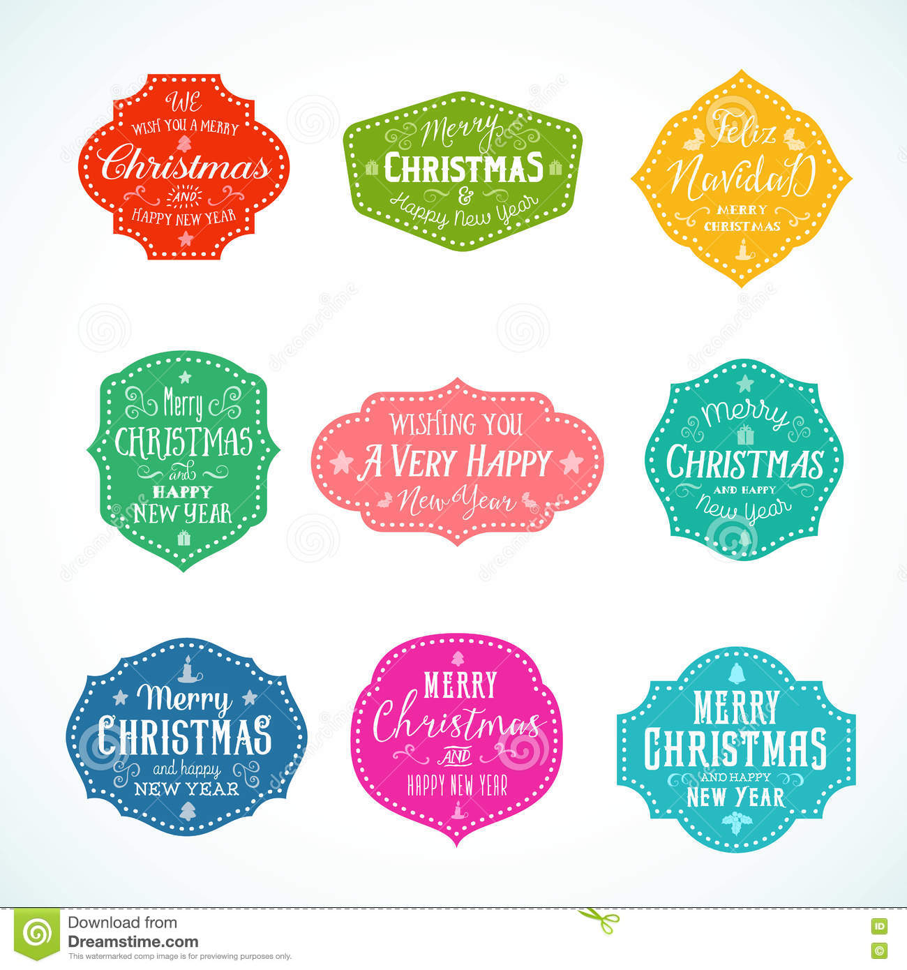 Vintage Typography Bright Color Cute Christmas Vector Badges.