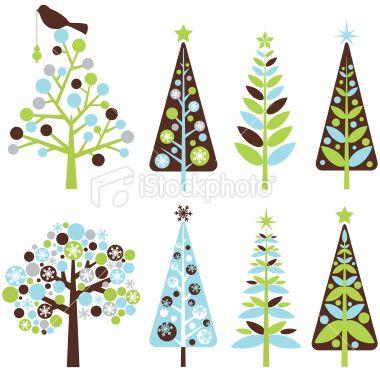 Retro Christmas Trees Royalty Free Stock Vector Art Illustration.