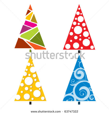 Bright Christmas Trees With Different Elements Stock Vector.