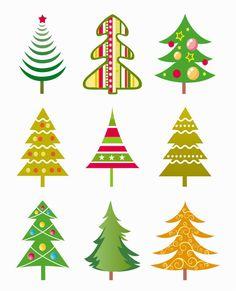 Christmas Trees Digital Clipart.