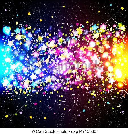 Clipart Vector of Bright colorful flying stars on a fantastic.