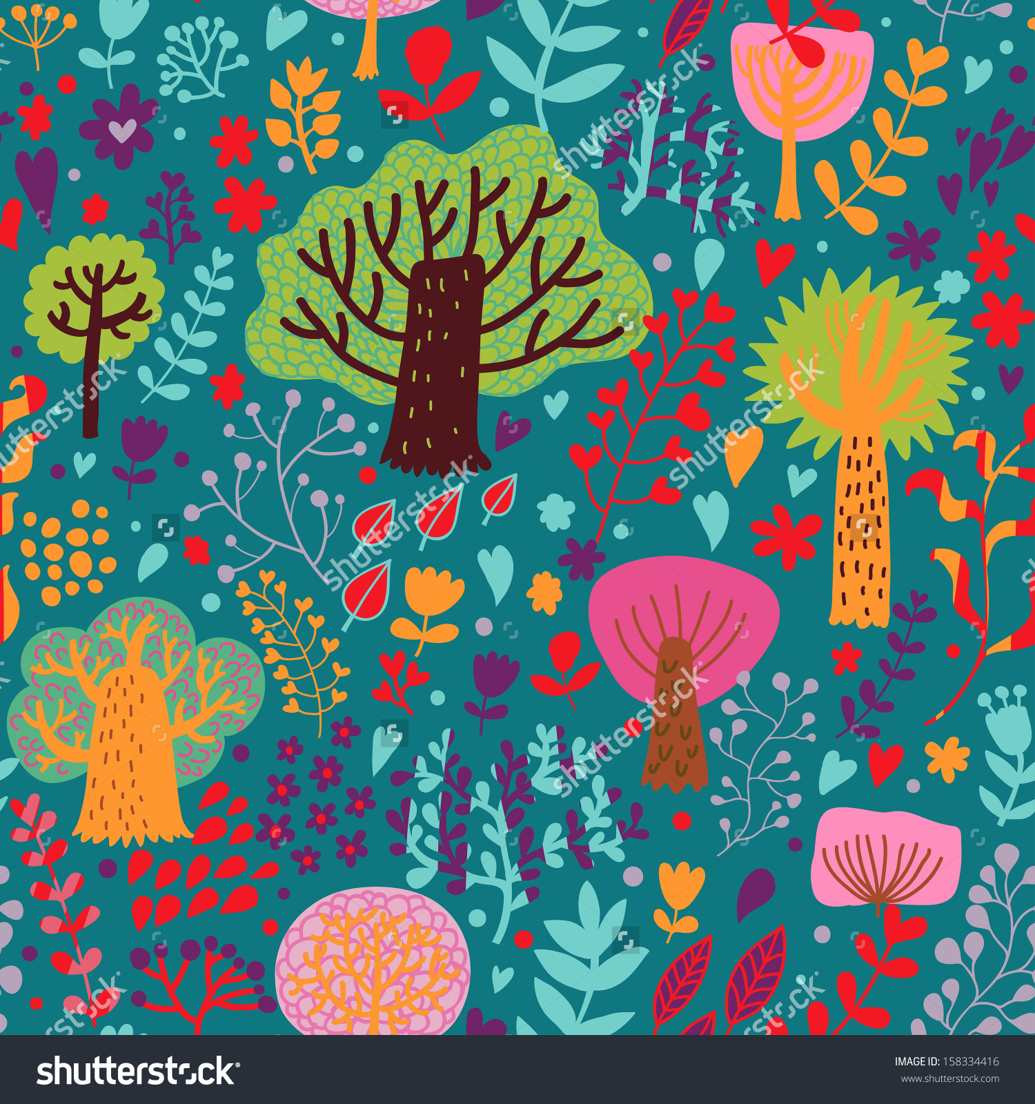 Magic Forest Cartoon Style Bright Colors Stock Vector 158334416.