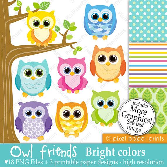 Owl friends BRIGHT COLORS Digital paper and clip art set.