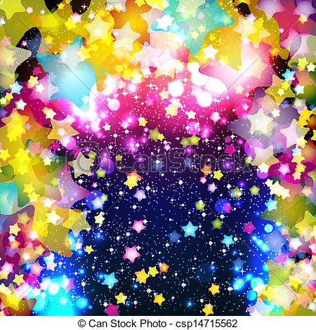 Clip Art Vector of Bright colorful flying stars on a fantastic.