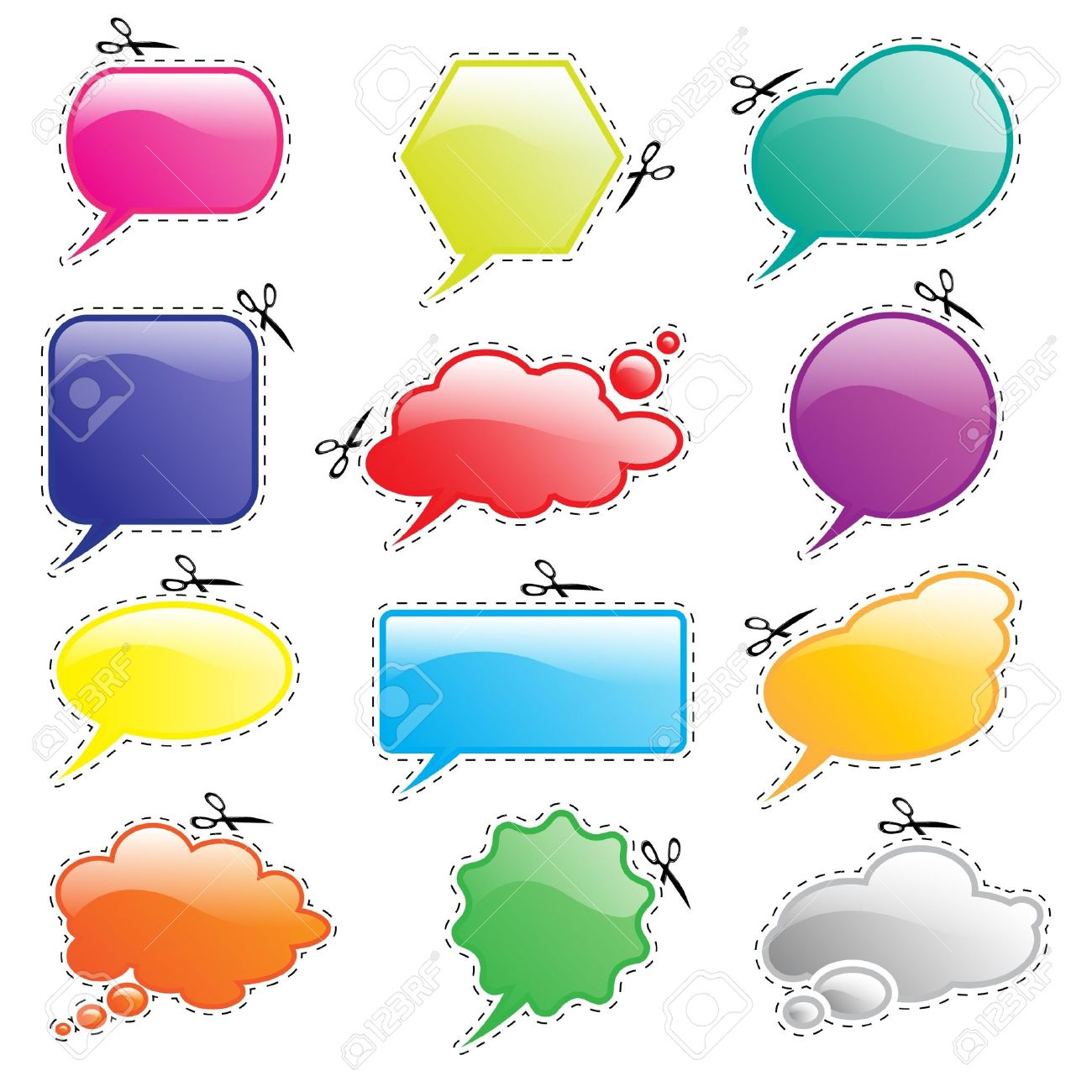 Glossy Speech And Think Bubbles In Bright Colours With Cutout.