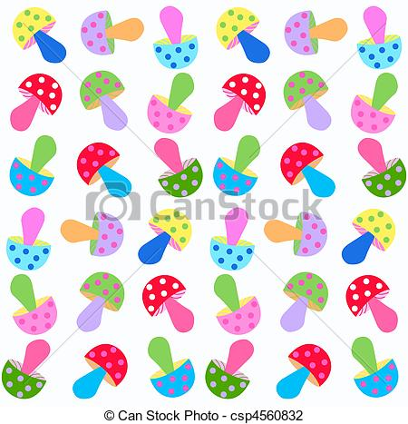 Clip Art of seamless fungus pattern in bright colours csp4560832.