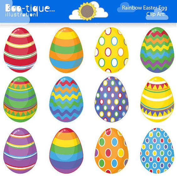 Easter Eggs Clipart. Easter Clip Art for Instant Download. Rainbow.