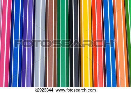 Stock Photo of Close up of pencils of various bright colours.