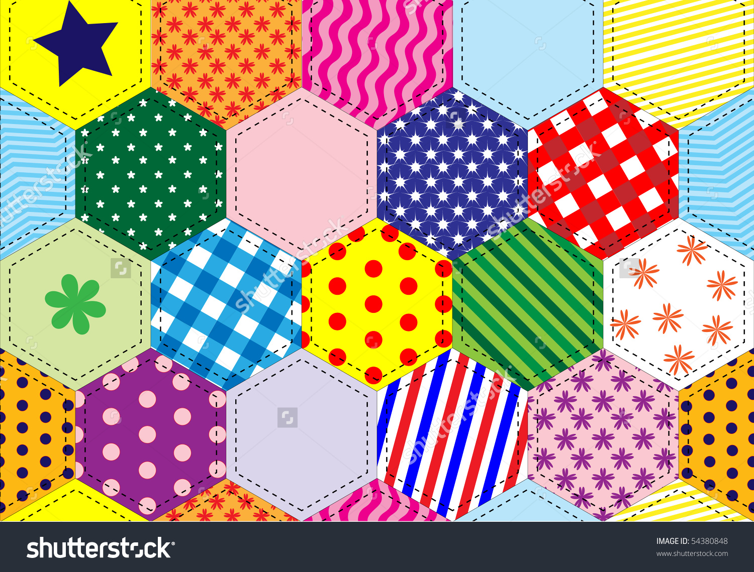 Illustration Patchwork Quilt Background Bright Colours Stock.