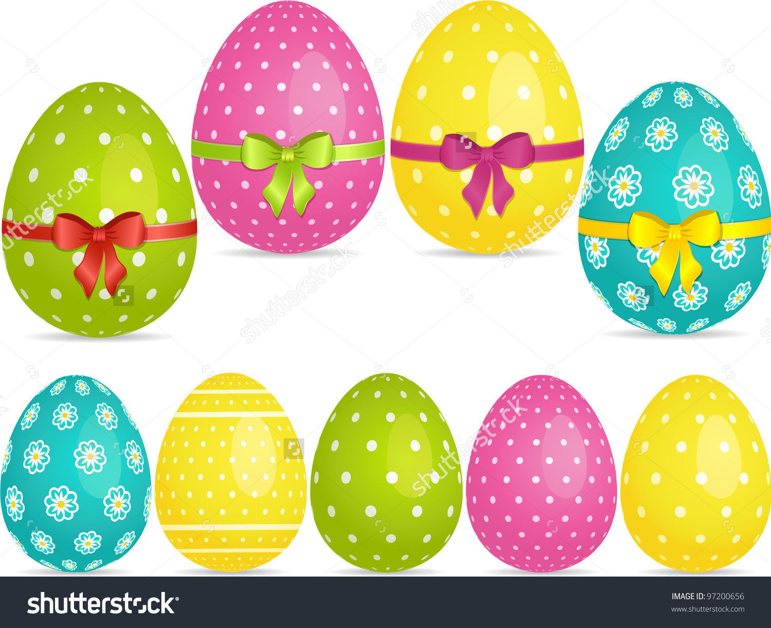 Easter Egg Set In Bright Colours With And With Ribbons Stock Photo.