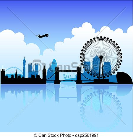 Vector Clip Art of London on a bright day.