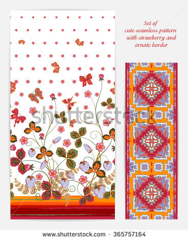 Set Of Bright Vertical Seamless Pattern With A Orange Brown.