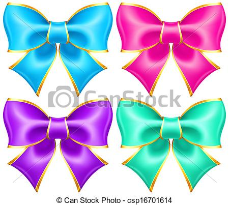 Vector Clip Art of Bright holiday bows with gold border.