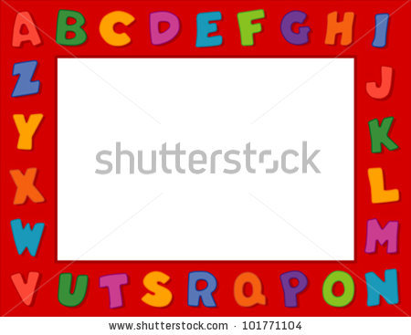 Alphabet Frame Bright Letters White Border Stock Vector 101771095.