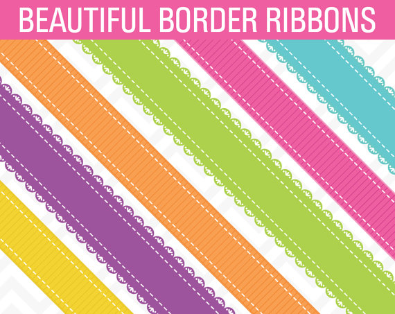 80% OFF Sale Clipart Bright Ribbon Borders Digital Scrapbook by.