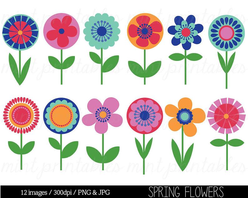 Flower Clipart Clip Art, Bright Flowers, Retro vintage flowers, Floral  Clipart, Spring Clipart.