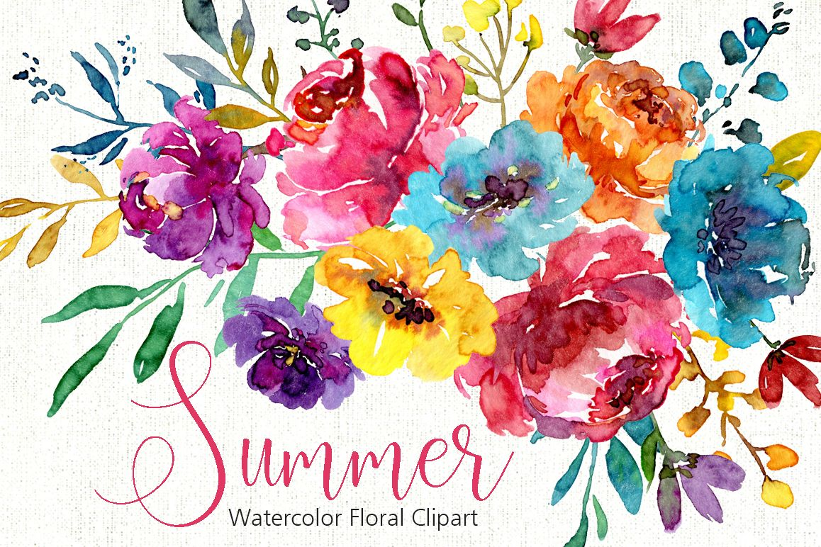 Watercolor Bright Summer Flowers PNG Collection.