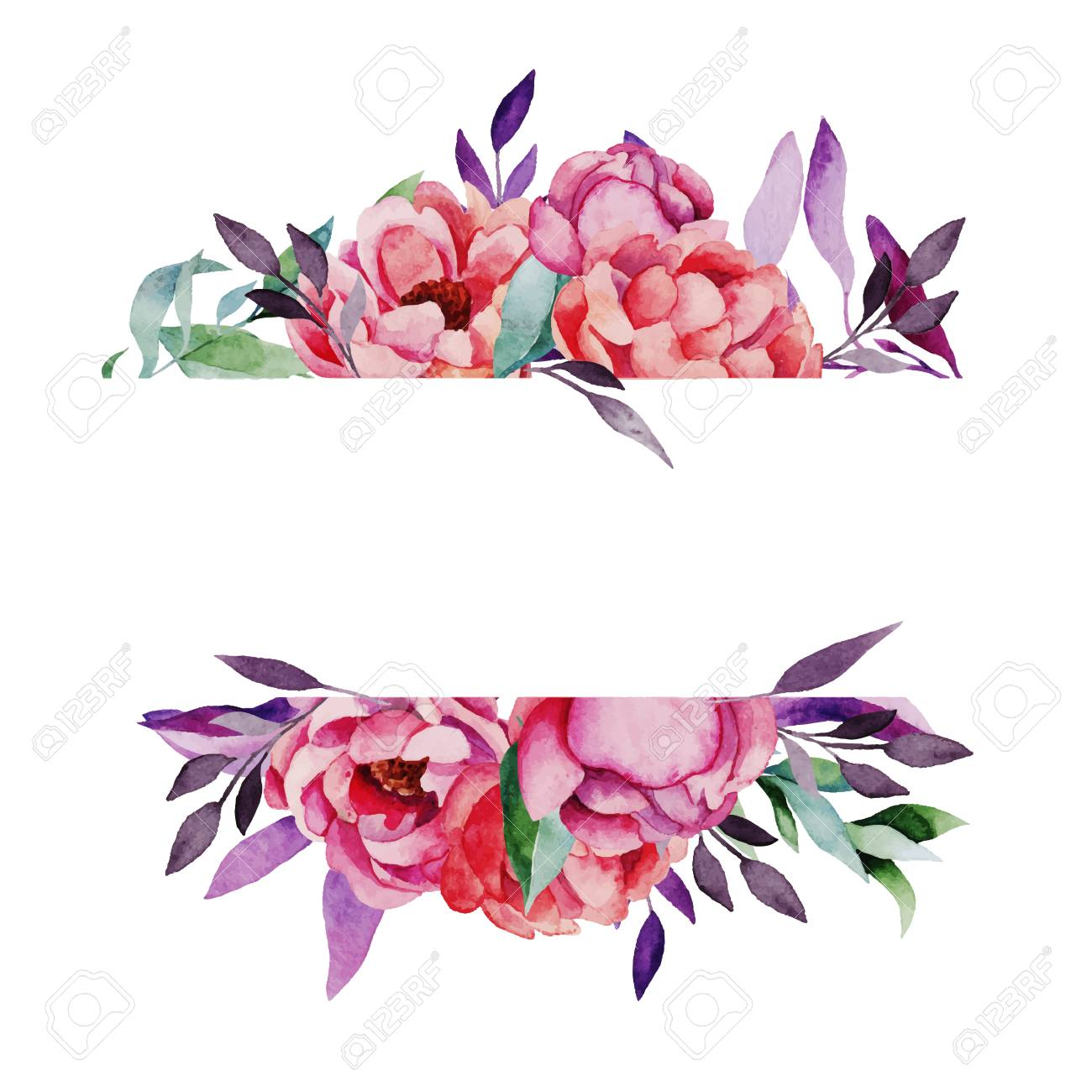 Hand drawn watercolor vector frame with bright flowers and plants.