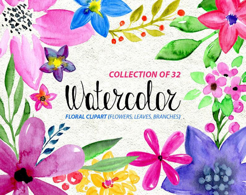 Watercolor flower clipart: 32 bright Flowers Branches Leaves watercolour  transparent Aquarelle Digital floral Free Commercial Use PNG.